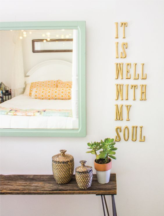 "LOVE the colour of the frame, the rustic bench and the gold saying ""It is well with my soul"" beside it..:"