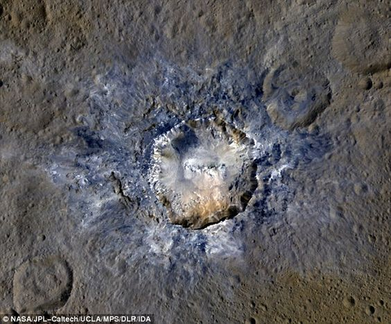 Ceres' Haulani Crater, with a diameter of 21 miles (34 kilometers), shows evidence of landslides from its crater rim. This image was made using data from NASA's Dawn spacecraft when it was in its high-altitude mapping orbit, at a distance of 915 miles (1,470 kilometers) from Ceres.