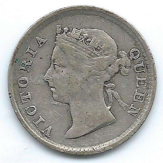 COIN MONEY Hong Kong 1894 5 cents Queen Victoria Silver  https://ajunkeeshoppe.blogspot.com/  1.0P727B43009IMG2271,2272
