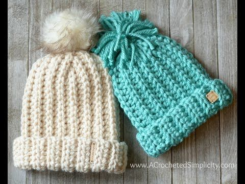 Knit Look Super Bulky Slouch Crochet Video Tutorial Youtube Crochet Hats Crochet Hats Free Pattern Crochet Hat Pattern
