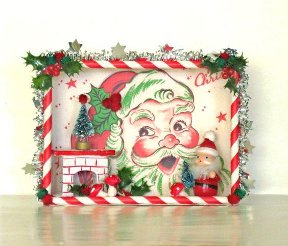 Christmas Shadow Box Santa Christmas Decoration Christmas Kitsch