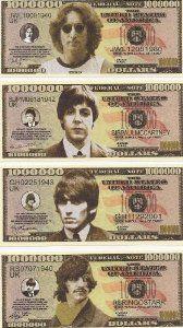 Amazon.com: The Beatles $Million Dollar$ Novelty Bills Complete Set of 4: Everything Else