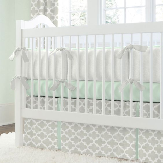French Gray And Mint Quatrefoil Crib Bedding Grey Skirts And Carousels