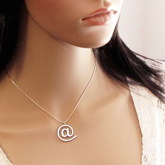 Email At Sign Sterling Silver Pendant