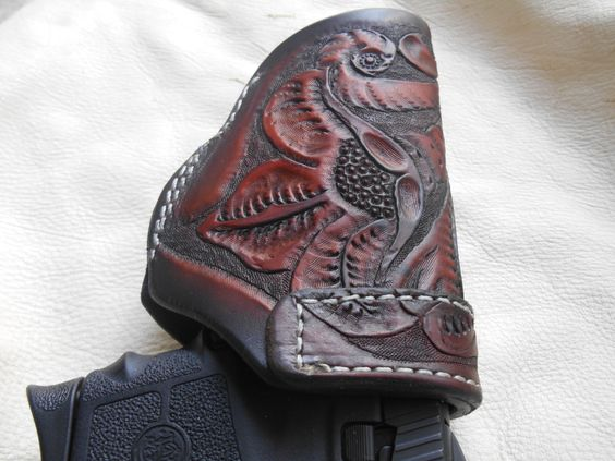 Smith and Wesson Bodyguard .380 hand carved by CJCustomLeather, $65.95
