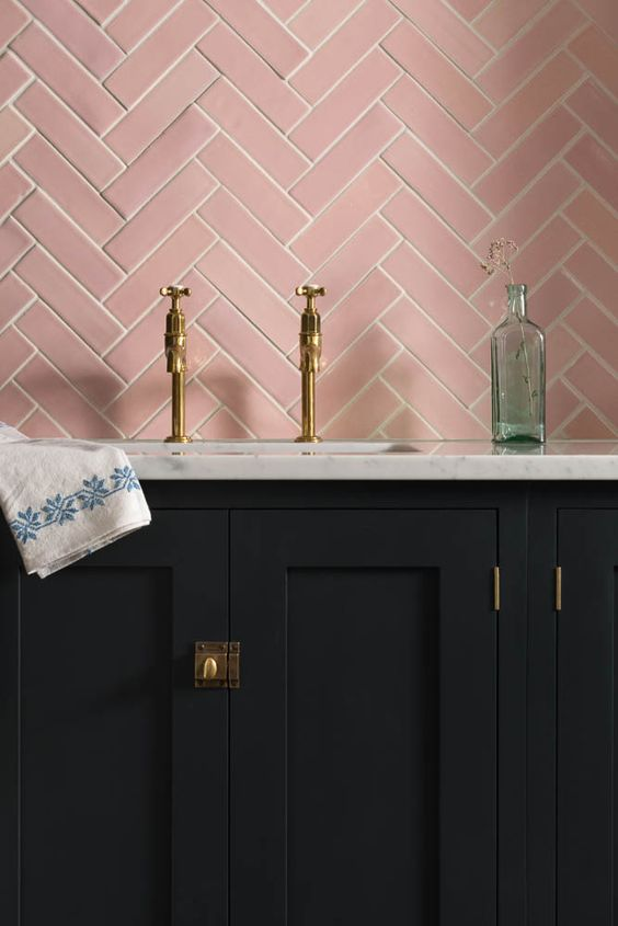 Our Blush Pink Handmade tiles look stunning against this Pantry Blue kitchen from deVOL Kitchens