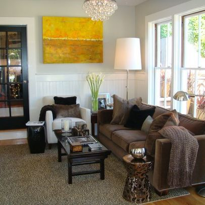 Brown couch gray walls design ideas pictures remodel for Grey and brown living room ideas