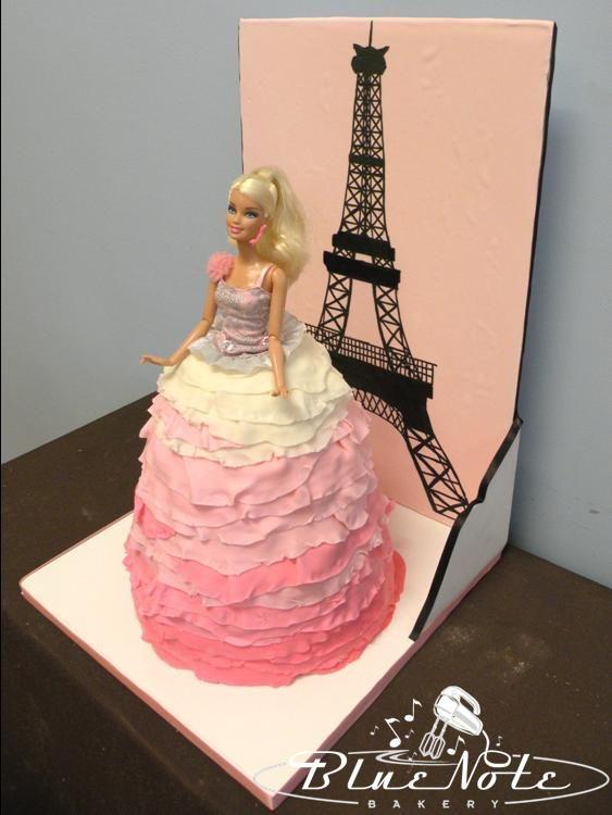 Barbie ombre skirt ruffle cake #barbie #cake #ombre #paris