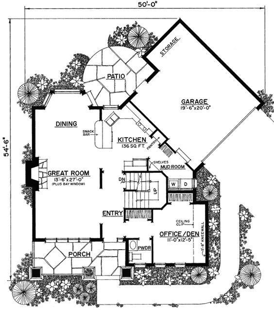 Plan 43040PF Unique Floor Plan Hides Garage House plans Sun