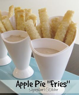 Apple Pie Fries- Delicious dipped in caramel sauce! Little fries that taste lilke applie pie in every bite!  SugarplumsKitchen.com