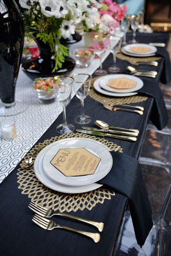 Wedding Reception Table Decor Ideas | Gold and Navy Tablescape Perfection