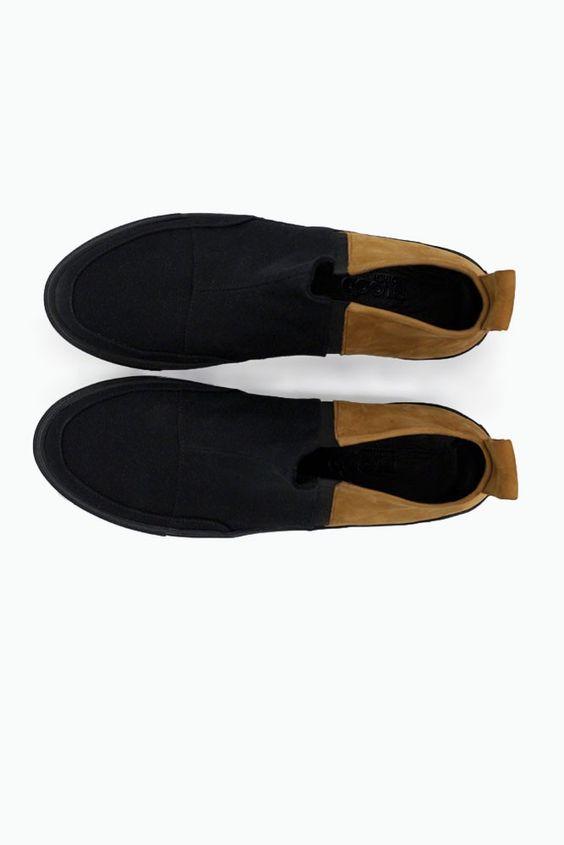 AW15 mens Shen Hi black and tan leather high-top slip-on shoe side shot