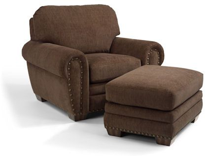 Flexsteel Furniture: Lounge Chairs: ChaseFabric Chair & Ottoman w/ Nails (5646-10-08)