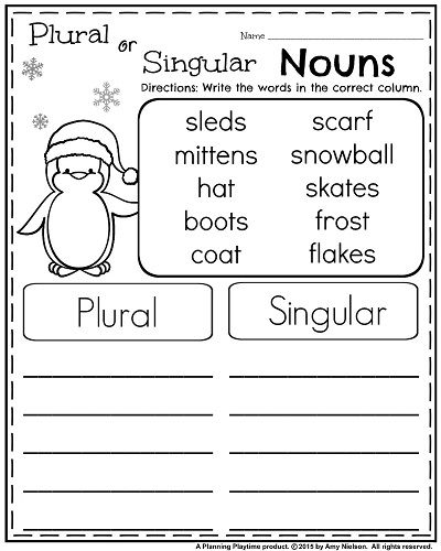 1st Grade Worksheets for January | Pinterest | Singular noun ...