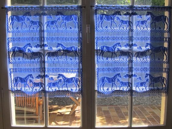 Horse Curtains, Kitchen Cafe Curtains, Pair Blue Lace Curtains ...
