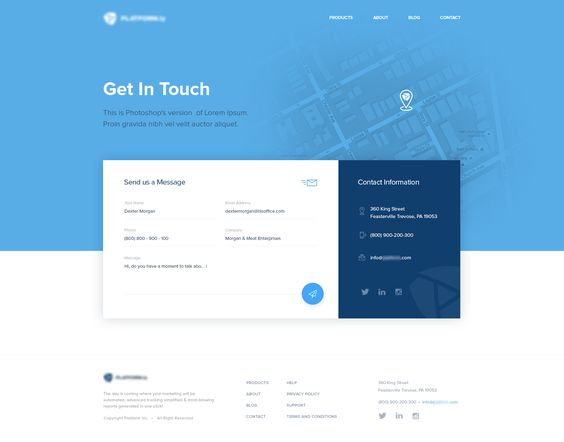 Contact us page – User interface by Vukasin Ferendjan