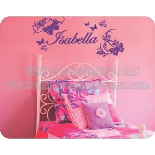 Vinil de nombres infantiles mariposas y flores www for Decoracion de dormitorios infantiles