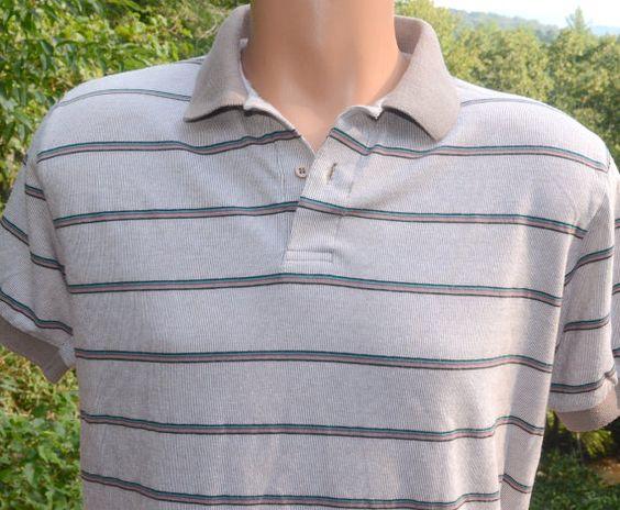vintage 70s polo GOLF shirt light brown stripe by skippyhaha