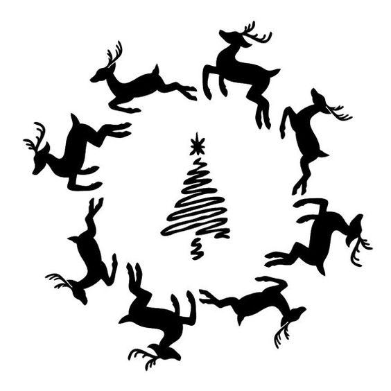 Reindeer Wreath on Laser-cut Stencil por PearlDesignStudio en Etsy