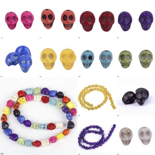 40pcs/Strand 10*8mm Skull Head Loose Gothic Crafts Carved Turquoise Beads Charms