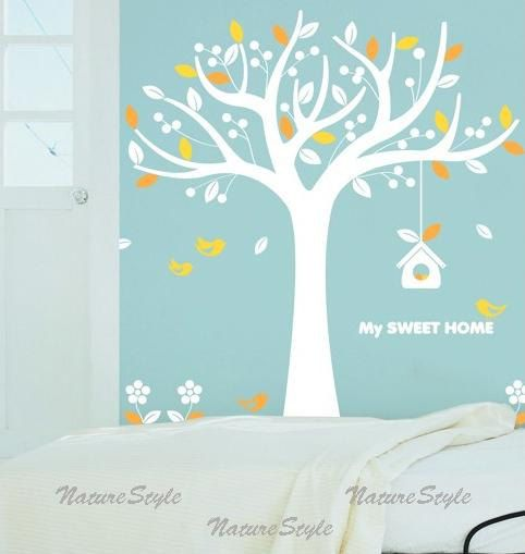 tree with flying birds vinyl wall by naturestyle on etsy 55 00