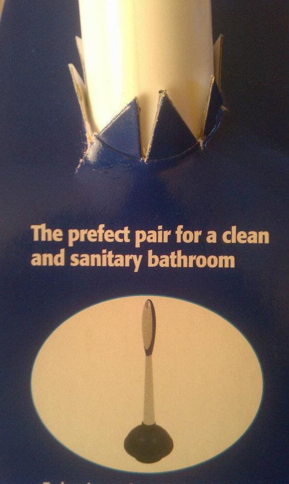 "On a Mr. Clean plunger/toilet brush combo pack.  Looks like they need to do a little cleaning of their inspection department.  It's a classic case of ""spell check didn't red-underline anything, so it must be just fine!"" condition."