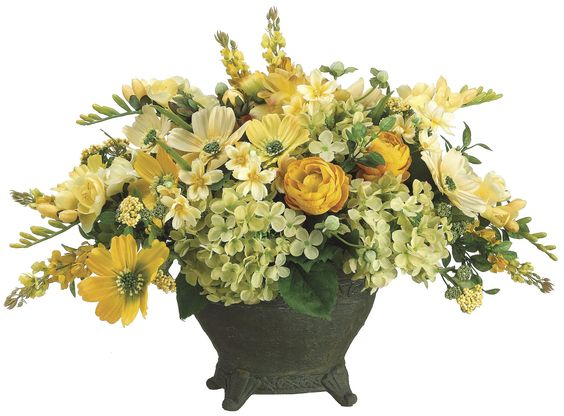 "- Yellow color artificial flower centerpiece in ceramic container for table decoration in your home. - Traditional designed silk flower arrangement can brighten any space in living room. - Size: 16""T"