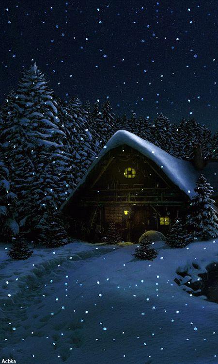 Gif -  En attendant le père noël, la neige tombe....: