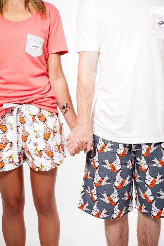 Hello Mr, Hello Mrs! Hello Mr organic cotton pyjama shorts with Hello Mrs organic cotton pyjama shorts www.thegoodnightsociety.com.au