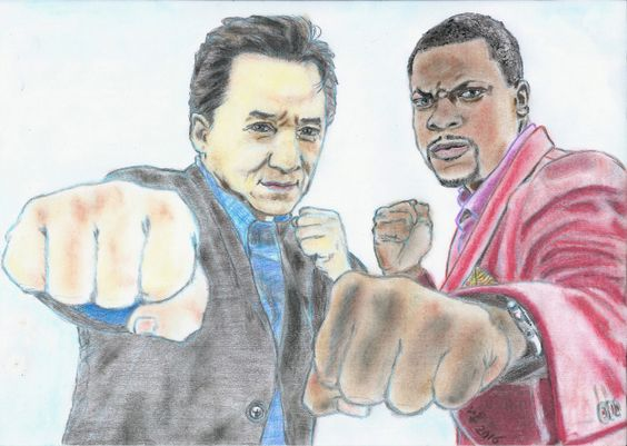Jackie Chan and Chris Tucker by Vanessafari - #JackieChan and #ChrisTucker in #RushHour, by #Vanessafari. More drawings at vanessafari.com