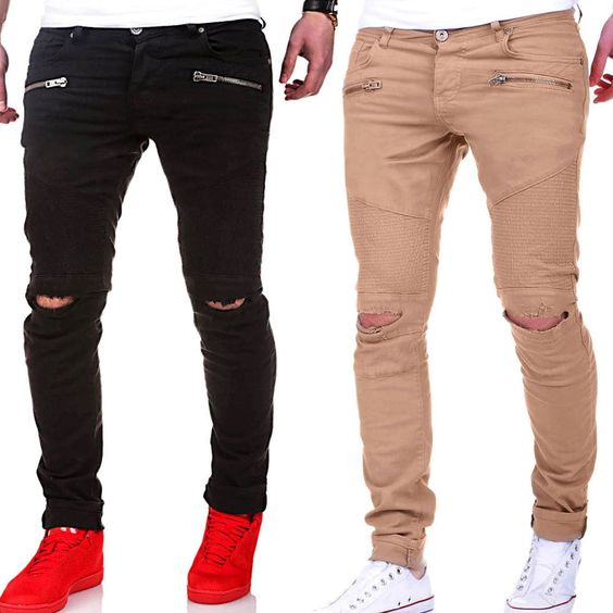herren biker chino slim fit jeans hose r hrenjeans blau chinohose schwarz neu ebay german. Black Bedroom Furniture Sets. Home Design Ideas