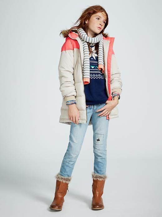 Girls Frost Free Colorblock Long Jacket Product Image | Lana's ...