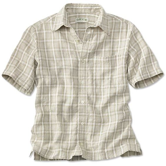 Our Havana shirt has long epitomized laid-back summer living. We offer this short-sleeved linen rendition with a subtle textured plaid woven in a serene cream tone. Wear it over drawstring pants or your favorite salt-sprayed shorts-there'll be no doubt you're headed straight for relaxation. Casually styled with a straight hem, side vents, and a spread collar. In natural. Linen. Washable. Imported.  <br />Sizes: M(38-40), L(42-44), XL(46-48), XXL(50-52).