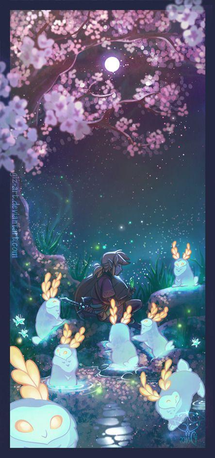 Under The Moon Art By Giz Art Tumblr Zelda Art Legend Of Zelda Breath Legend Of Zelda
