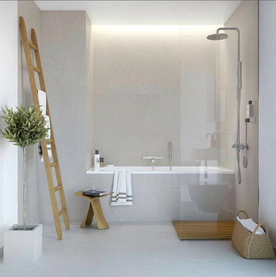 Like the light grey tile that feels like concrete. Possibility for the shower…