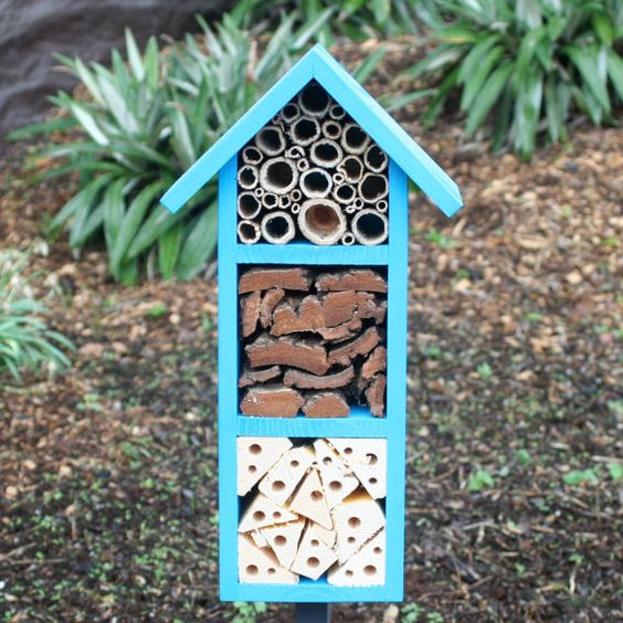 Bee and Insect Hotel three tier in Cool Azure by Wudwerx on Etsy