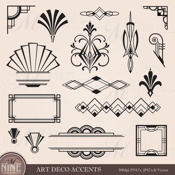 Digital Clipart ART DECO Design Elements Frames / Borders / Florishes, Instant Download, Vintage Frames Antique Clip Art: