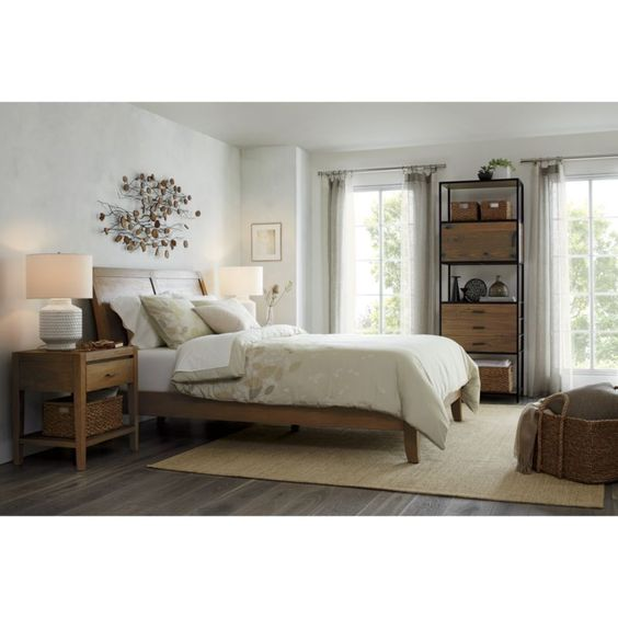 Dawson Grey Wash Queen Sleigh Bed   Crate and Barrel   $1,099.00
