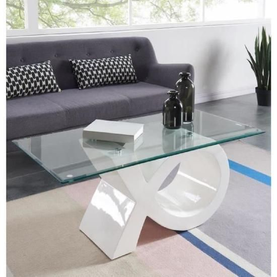 Sharon Table Basse En Verre Contemporain Laque Blanc Brillant 110x55cm Table Basse Table Basse Verre Mobilier De Salon