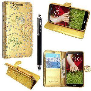 KAMAL STAR® LG Leon H340N LTE 4G FLIP PU LEDER CASE COVER HÜLLE ETUI TASCHE SCHALE + STYLUS (Rose Gold Diamond Book)