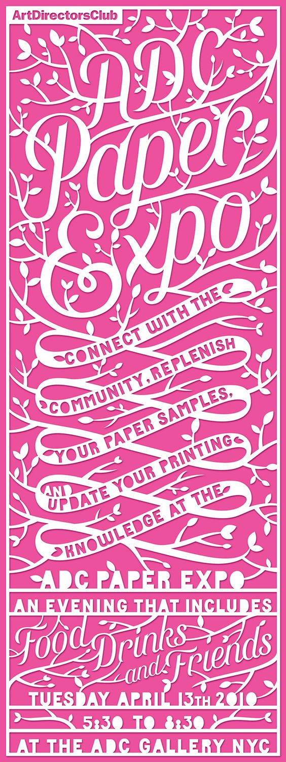 Art Directors Club poster: Graphic Design, Paper Cut, Art Director, Poster Design, Design Papercuts, Color Poster, Type Lettering Calligraphy