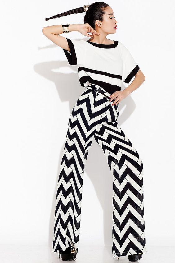 black and white wide leg pants - Pi Pants