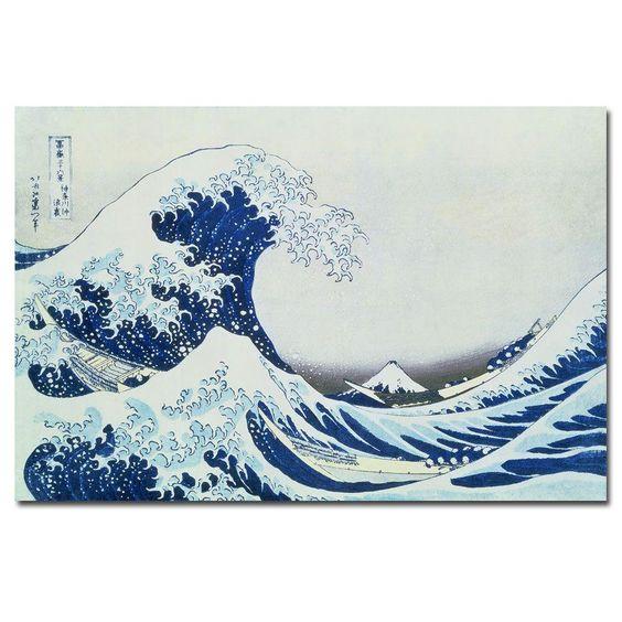 22 in. x 32 in. 'The Great Kanagawa Wave' Canvas Art