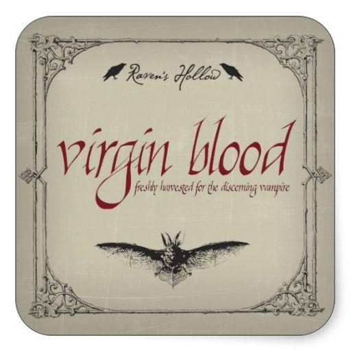 Virgin Blood Halloween Jar Sticker Label - Place on a bottle of wine ...