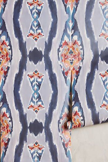 Sketched Ikat Wallpaper - that's a lot of a good thing. Patterned walls!