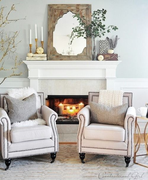 Living room ideas. Mantle decor. Rustic elements. sitting area, fireplace, mirror