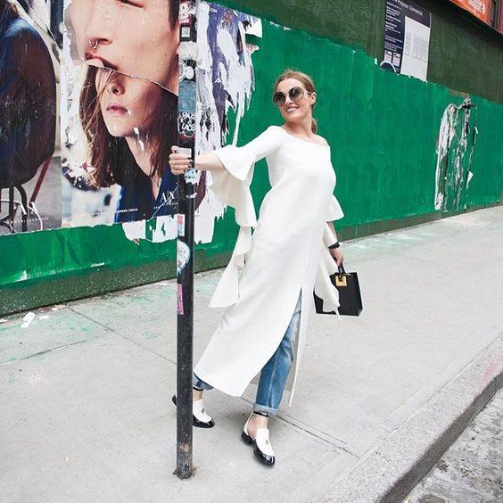 Elleryland Top, chanel flats and zara jeans, Sophie Hulme bag on Juliet Belkin for Ellery land. Photo by Lauri Levenfeld. #NYFW #Ellery