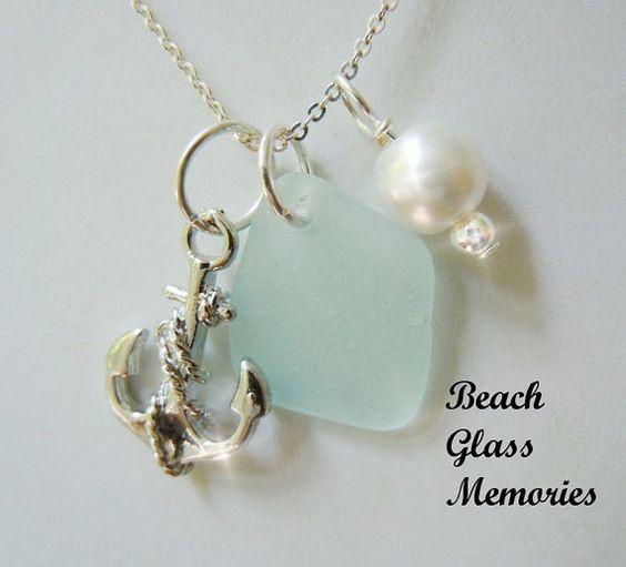 Light Aqua Sea Glass Necklace  Anchor by BeachGlassMemories