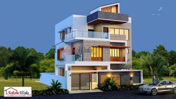 2512triplex Housedesign Elevation Jpg Modern House Facades House Elevation 3 Storey House Design