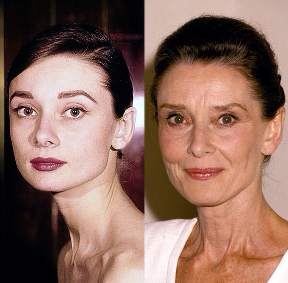 """She was always a little bit surprised by the efforts women made to look young. She was actually very happy about growing older because it meant more time for herself, more time for her family, and separation from the frenzy of youth and beauty that is Hollywood. She was very strict about everybody's time in life."" -Luca Dotti remembers his mother Audrey Hepburn. (Left: Audrey Hepburn circa 1958. Right: Audrey Hepburn in 1990):"
